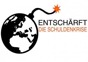 Logo Entschärft die Schuldenkrise Weltkugel mit Zündschnur